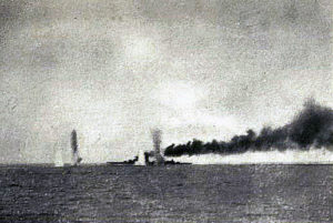 First of a series of photographs taken from a British destroyer at the Battle of Jutland on 31st May 1916 showing salvos of German shells landing short of HMS Lion