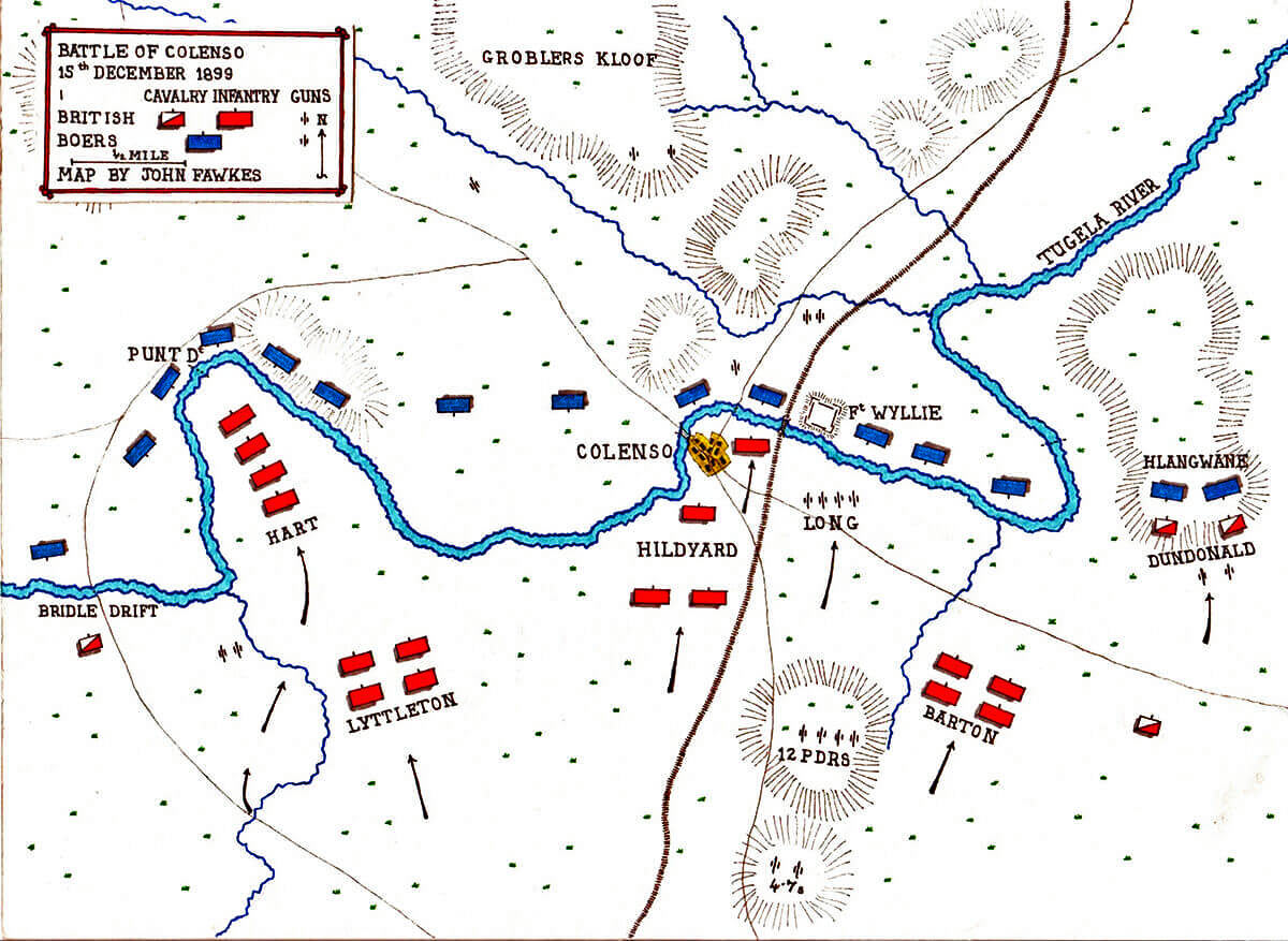 Map of the Battle of Colenso on 15th December 1899 by John Fawkes