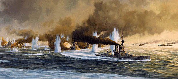 German Battle Fleet carries out the 'Battle Turn Away' to escape from the British Grand Fleet at the Battle of Jutland 31st May 1916
