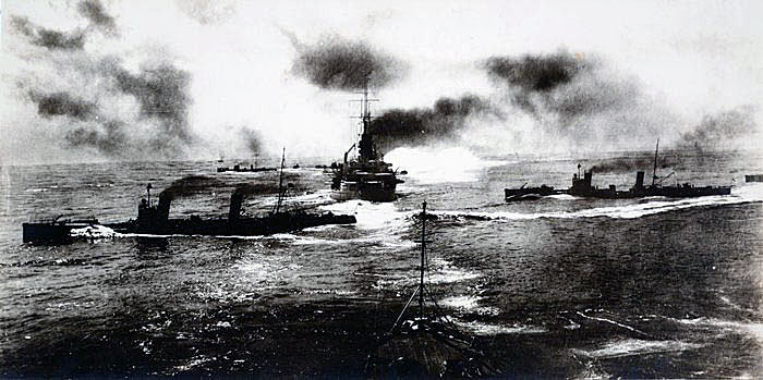 German Destroyers crossing through the line of German Battleships to deliver their torpedo attack on the British Battle Line and create the smoke screen at the Battle of Jutland 31st May 1916