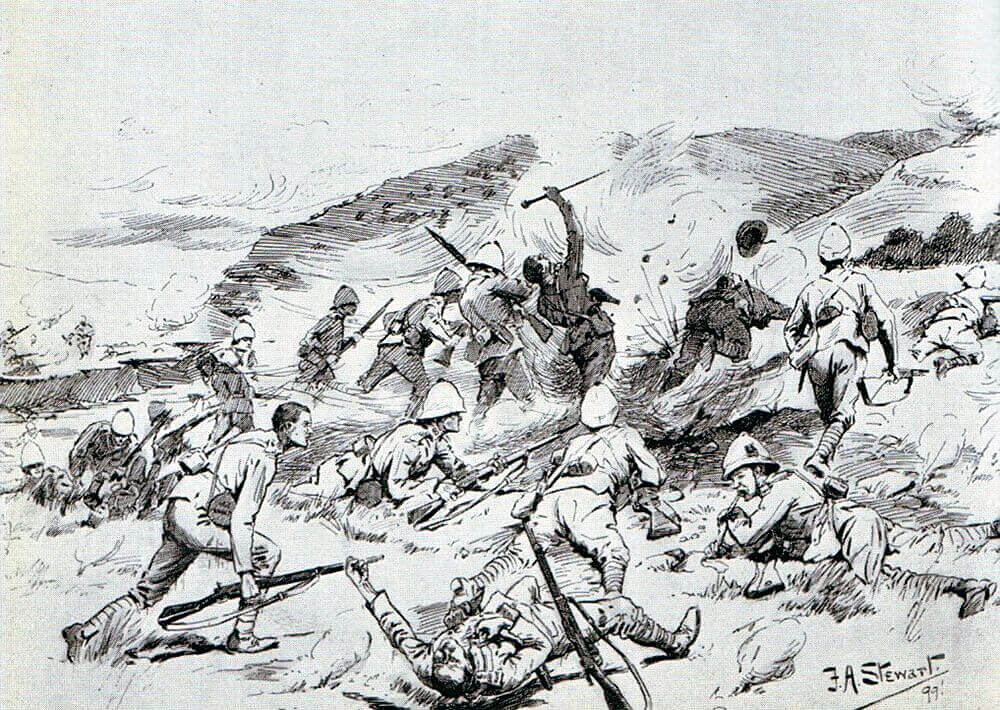 1st Royal Dublin Fusiliers and 1st Inniskilling Fusiliers attempting to cross the Tugela River at the Battle of Colenso on 15th December 1899