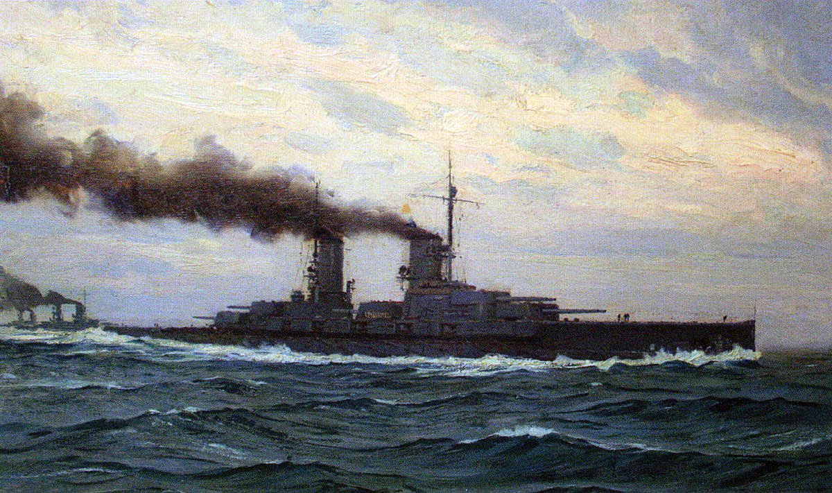 German Battleship SMS Grosser Kurfürst. Grosser Kurfürst fought at the Battle of Jutland on 31st May 1916 in the 5th Division of Rear-Admiral Behncke's 3rd Squadron: picture by Claus Bergen