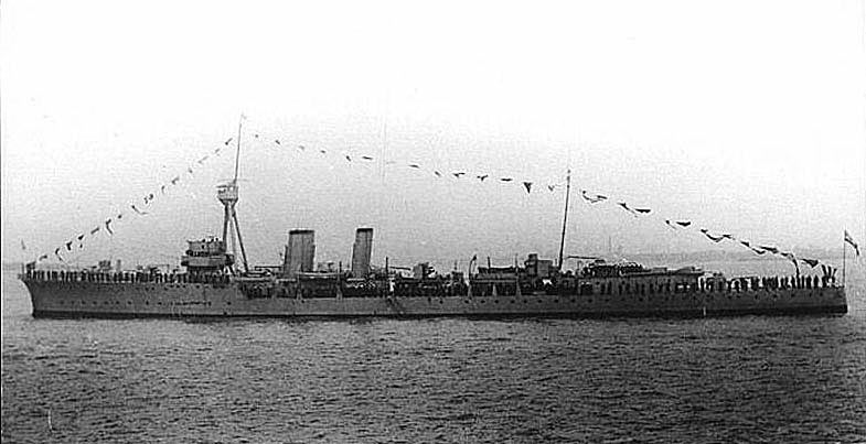 British Cruiser HMS Calliope. Calliope fought at the Battle of Jutland on 31st May 1916 as flag ship in 4th Light Cruiser Squadron