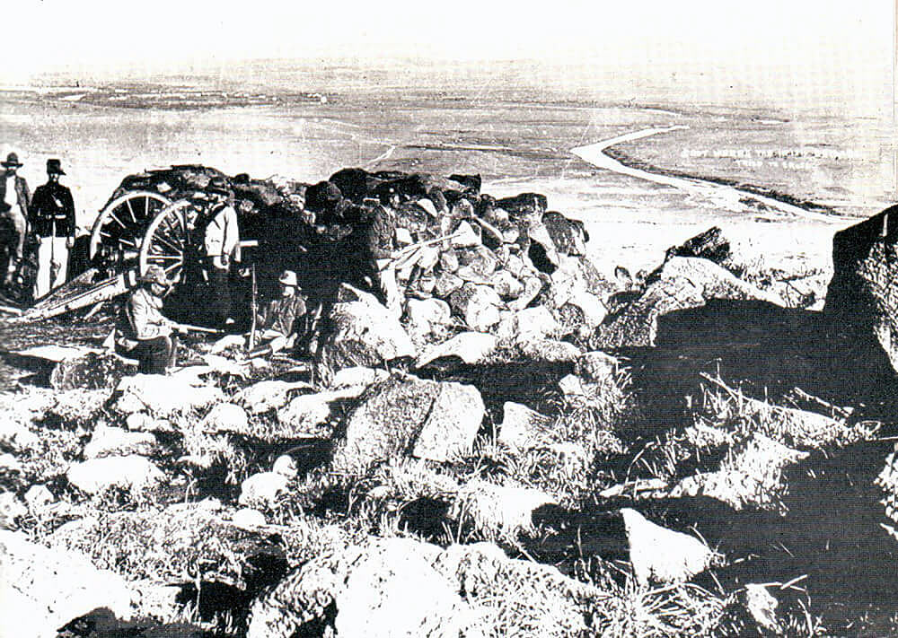 View of the point where Hart's Irish Brigade attempted to cross the Tugela River from the Boer positions north of the river at the Battle of Colenso on 15th December 1899