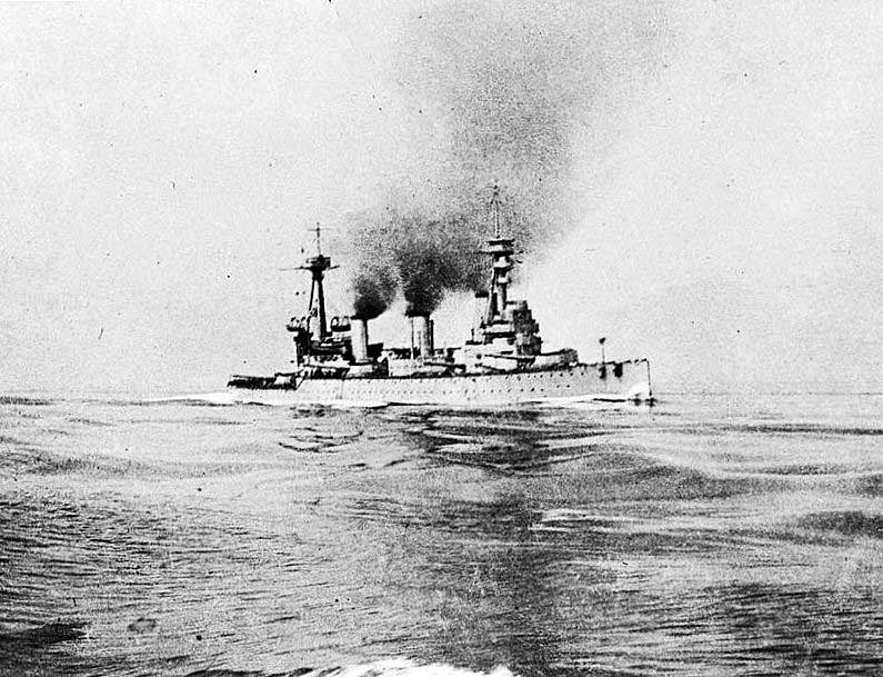 British Battle Cruiser HMS Indefatigable at about 3pm on 31st May 1916 half an hour before she was sunk. Indefatigable was lost at the Battle of Jutland  when she was repeatedly struck by German salvos and exploded.  Her entire crew was lost