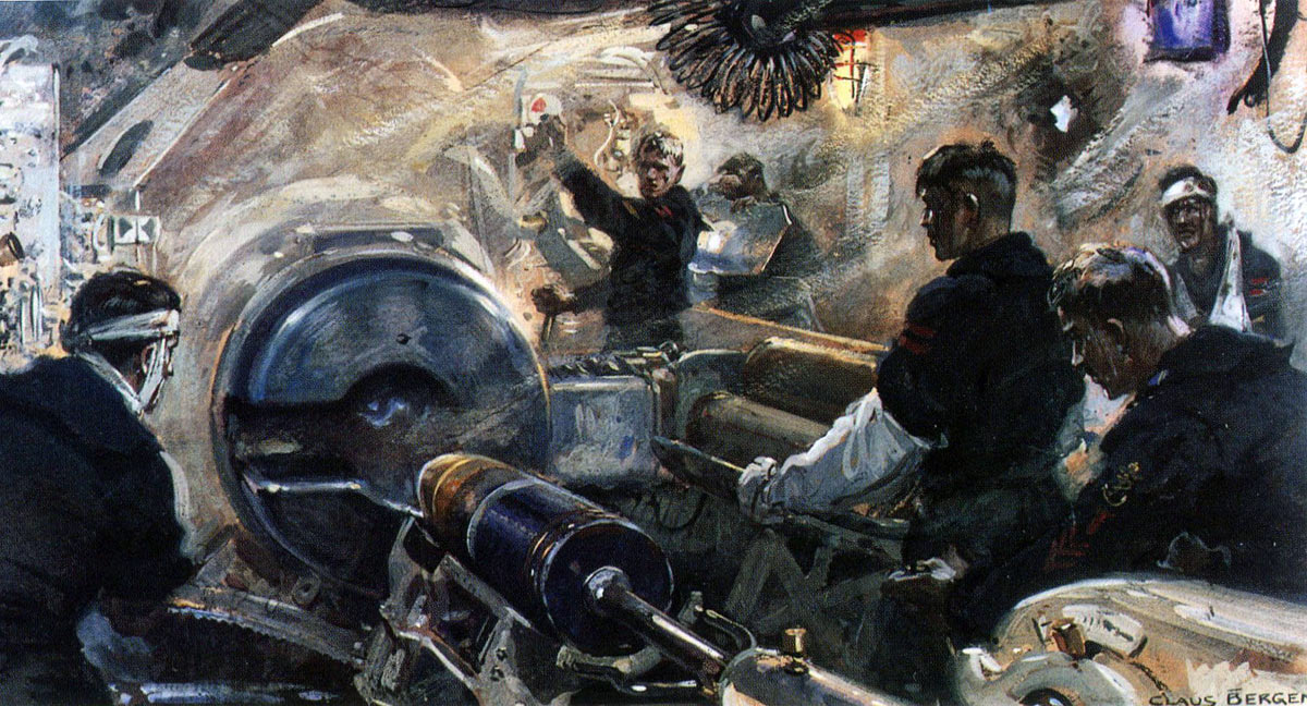 Inside a Main Gun Turret of a German Battle Cruiser at the Battle of Jutland 31st May 1916: picture by Claus Bergen
