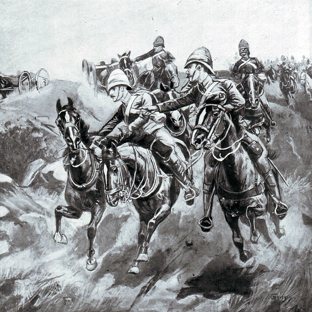 Gun battery advancing at the Battle of Colenso on 15th December 1899