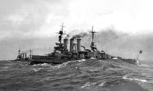 German Battleships of the Nassau Class forming the 2nd Division of Vice-Admiral Schmidt's 1st Battle Squadron at the Battle of Jutland on 31st May 1916
