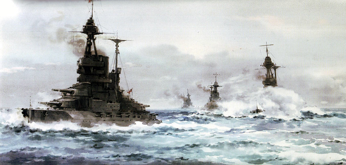 British 5th Battle Squadron Vice-Admiral Evan-Thomas's Flagship HMS Barham HMS Valiant HMS Malaya and HMS Warspite all Queen Elizabeth Class Battleships