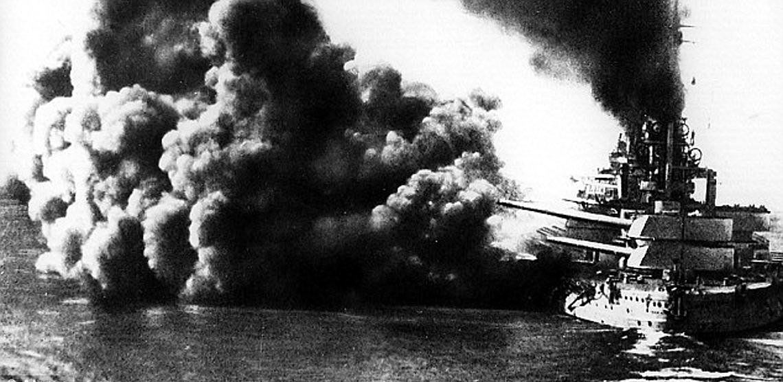 German Battleship SMS Friedrich der Grosse firing a salvo during the Battle of Jutland 31st May 1916