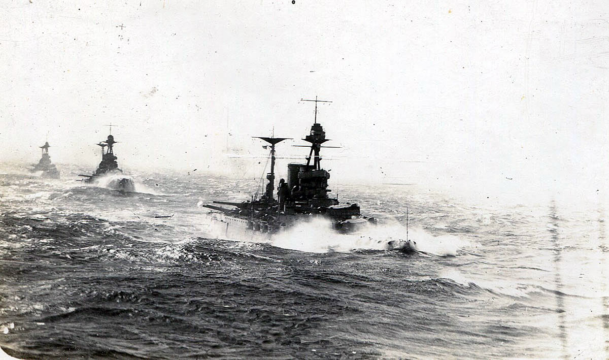 5th Battle Squadron; HMS Valiant, Warspite & Malaya about to open fire; taken from HMS Barham. 5th Battle Squadron fought at the Battle of Jutland on 31st May 1916 as part of Admiral Beatty's Battle Cruiser Fleet