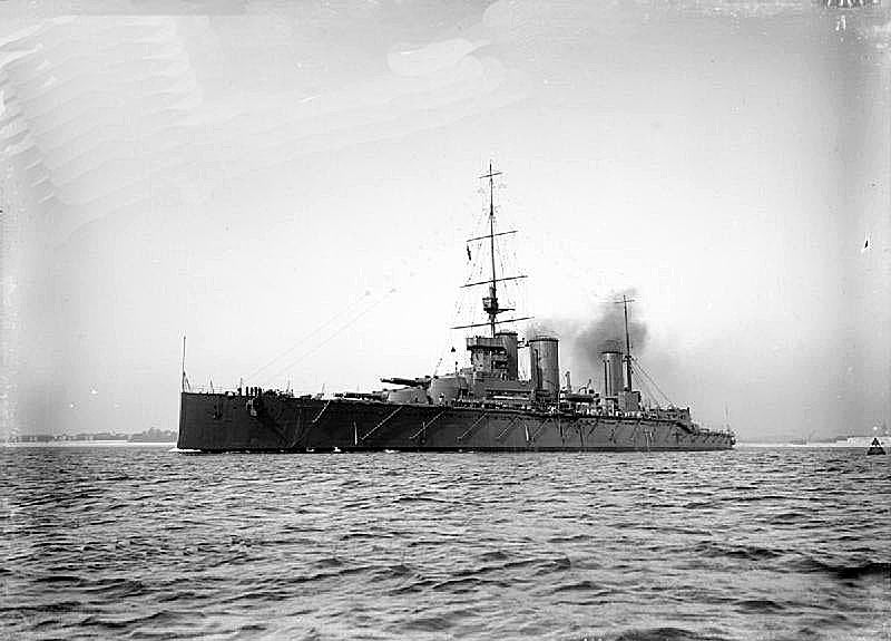 British Battle Cruiser HMS Queen Mary. Queen Mary blew up and sank in the opening part of the Battle of Jutland on 31st May 1916