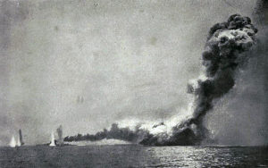 British battle cruiser HMS Queen Mary explodes after being repeatedly struck by shells from German battle cruisers SMS Derfflinger and Seydlitz, Battle of Jutland 31st May 1916: comtemporary photograph taken from HMS Lydiard