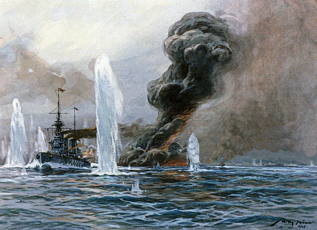 Exploding of HMS Queen Mary at the Battle of Jutland on 31st May 1916: picture by Willy Stoewer