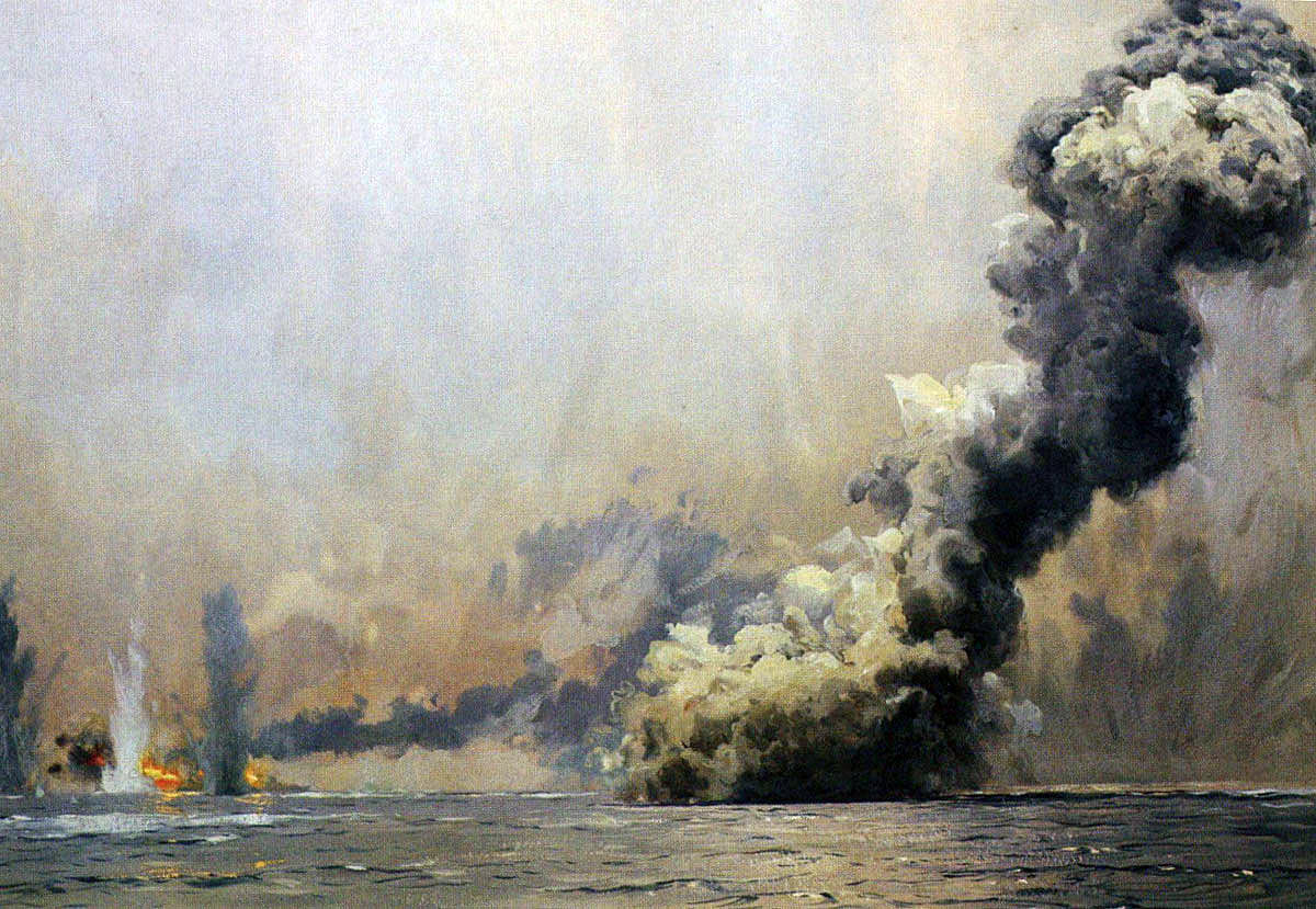 British battle cruiser HMS Queen Mary explodes at the Battle of Jutland on 31st May 1916: picture by Claus Bergen from the contemporary photograph taken by a British officer