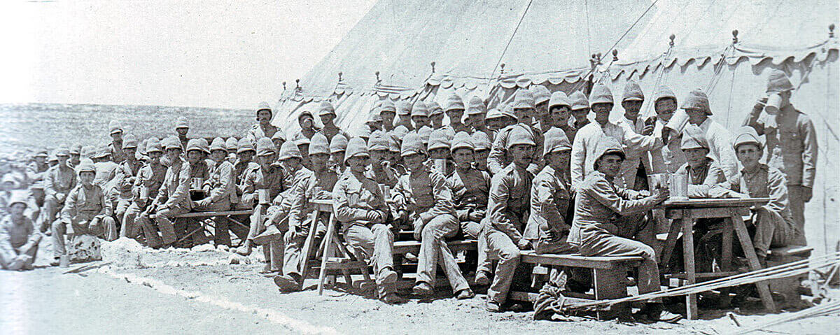 1st Border Regiment in camp in Natal during the Boer War: the battalion fought in Hart's Brigade at the Battle of Colenso on 15th December 1899