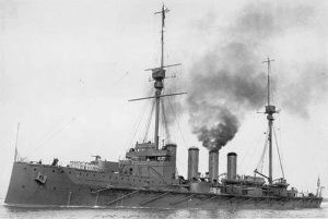 British Cruiser HMS Warrior. Warrior fought at the Battle of Jutland on 31st May 1916 in Admiral Arbuthnot's 1st Cruiser Squadron. Warrior sank during 1st June 1916 due to damage she had suffered during the battle