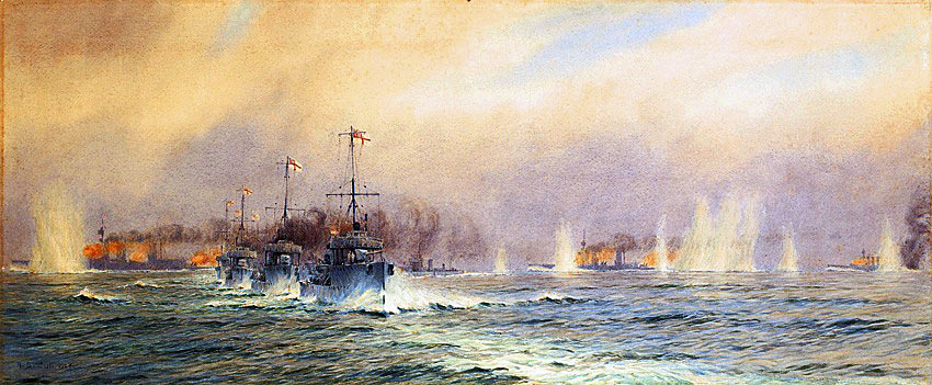 British destroyers of the 13th Flotilla begin their attack as HMS Queen Mary blows up at 4.26pm during the Battle of Jutland 31st May 1916