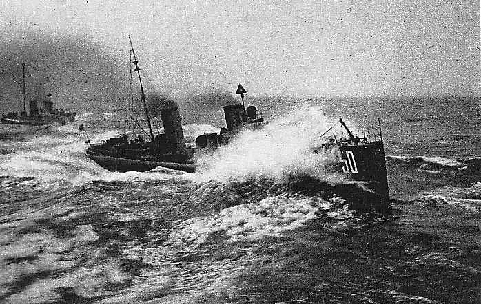 German Torpedo Boat SMS S50 of 12th Half Flotilla 6th Flotilla moving at speed to execute a torpedo attack at the Battle of Jutland on 31st May 1916
