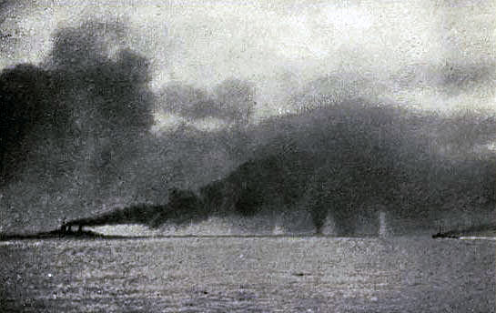 British Battle Cruisers turning from south to north on sighting the German High Seas Fleet and beginning the 'Run to the North' Battle of Jutland 31st May 1916 Lion turning Princess Royal straddled: contemporary photograph taken from a British ship