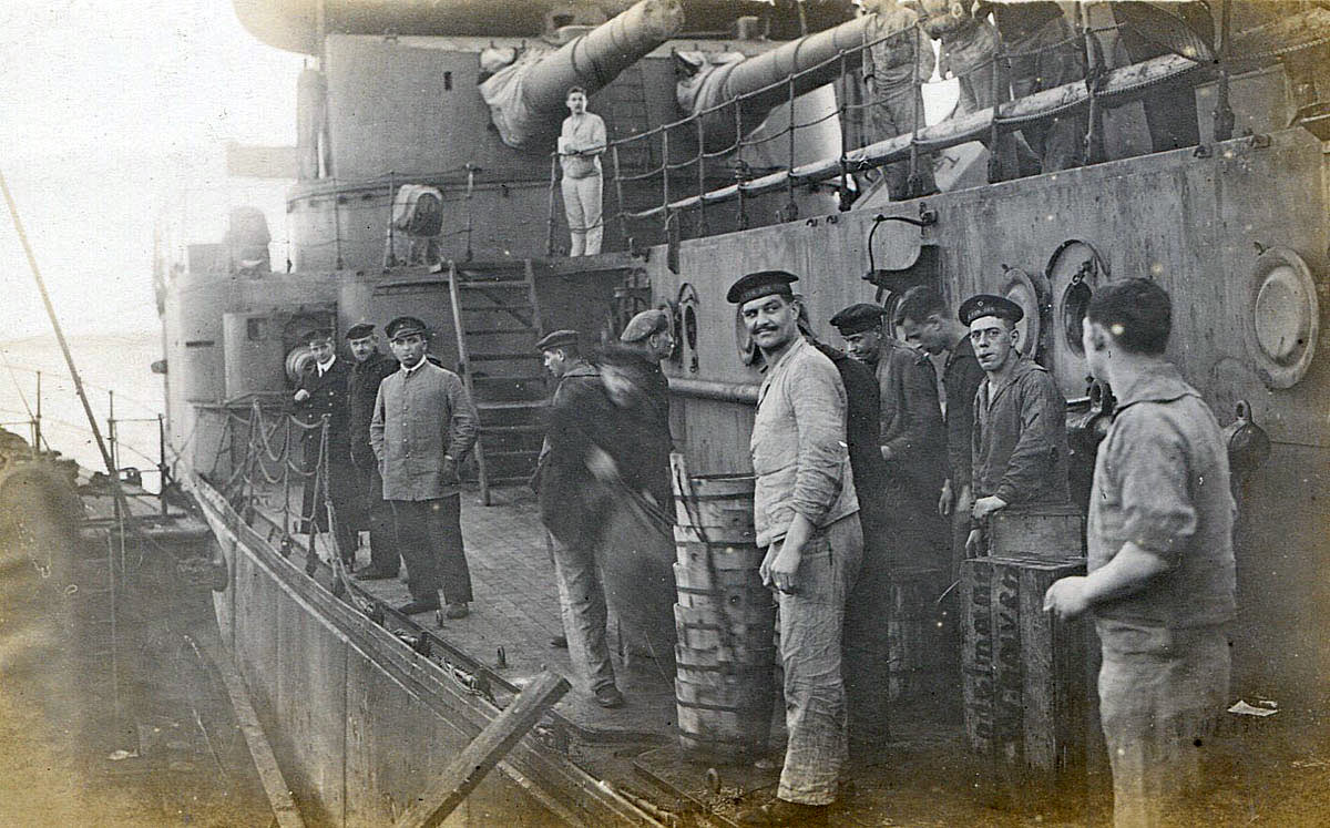 German sailors on SMS Frederick der Grosse in Scapa Flow after the Armistice in November 1918. This ship fought at the Battle of Jutland on 31st May 1916 as Admiral Scheer's Flagship