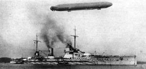 German Naval Airship flying over SMS Seydlitz