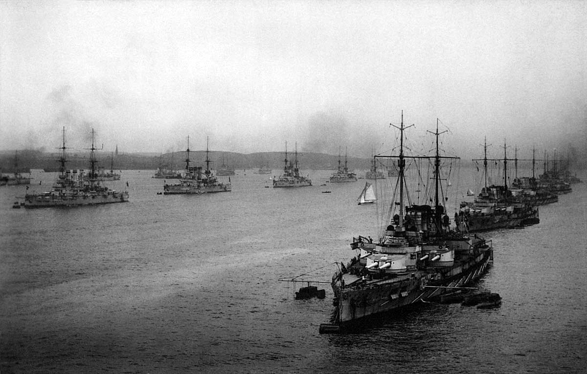 1st and 2nd Battleship Squadrons of the German High Seas Fleet in Kiel Harbour 1916
