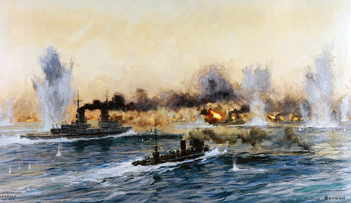 German Battleships and Destroyers advancing to the attack at the Battle of Jutland on 31st May 1916: picture by Claus Bergen