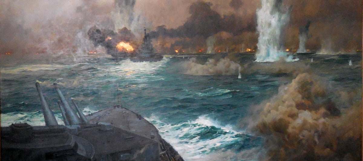 German High Seas Fleet in action at the Battle of Jutland on 31st May 1916: picture by Claus Bergen