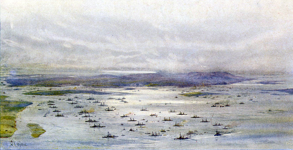 Royal Navy's Grand Fleet at Scapa Flow in 1916: picture by Lionel Wyllie
