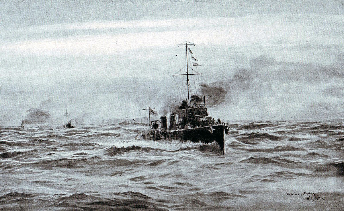 British destroyers patrolling in the North Sea in 1916: picture by Lionel Wyllie