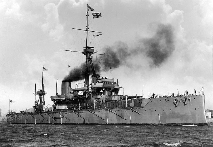 HMS Dreadnought, the benchmark British Battleship built in 1906