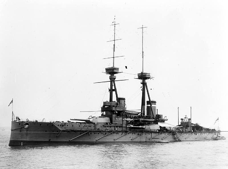 British Battleship HMS Collingwood in Rosyth. Collingwood fought at the Battle of Jutland on 31st May 1916 in Vice Admiral Sir Cecil Burney's 1st Battle Squadron. Prince Albert later King George VI was a member of her crew under the name 'Mr Johnson'