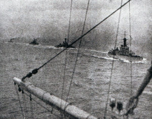 Orion class battleships in the North Sea: HMS Monarch, Thunderer and Conqueror, the photograph taken from HMS Orion. All four ships fought at the Battle of Jutland on 31st May 1916 in Vice Admiral Sir Thomas Jerram's 2nd Battle Squadron
