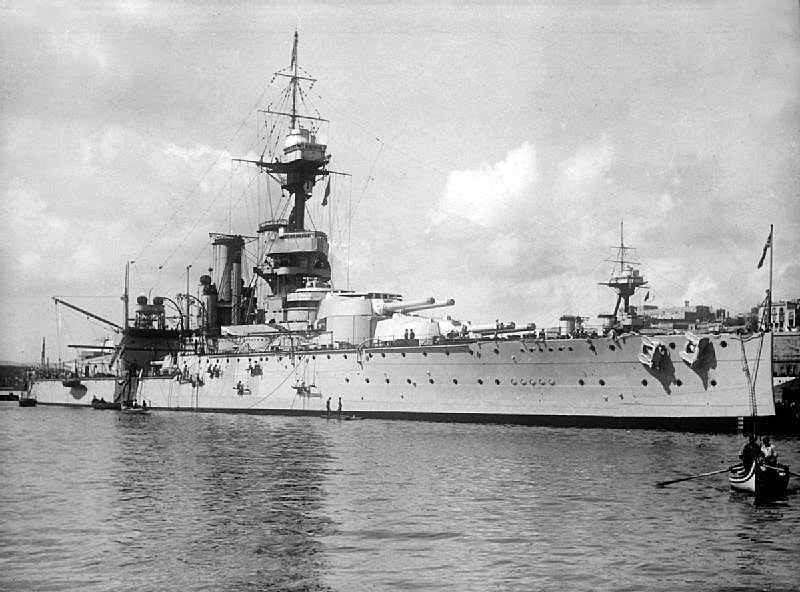British Battleship HMS Ajax. Ajax fought at the Battle of Jutland on 31st May 1916 in Vice Admiral Sir Thomas Jerram's 2nd Battle Squadron