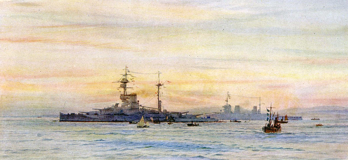 British Battleship HMS Revenge with British Battle Cruiser HMS Lion in the background. Both ships fought at the Battle of Jutland on 31st May 1916: picture by Lionel Wyllie