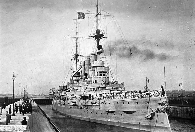German Battleship SMS Deutschland. Deutschland fought at the Battle of Jutland on 31st May 1916 in Admiral Mauve's 2nd Squadron of pre-Dreadnought battleships
