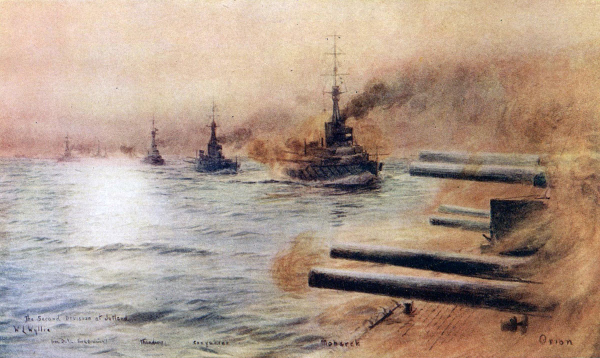 British 2nd Division of Battleships at the Battle of Jutland 31st May 1916: from the right HMS Orion Monarch Conqueror and Thunderer: picture by Lionel Wyllie