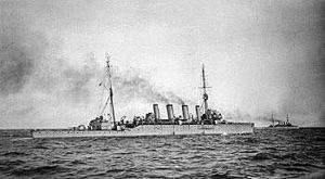 British Light Cruiser HMS Southampton. Southampton fought at the Battle of Jutland 31st May 1916 as Commodore Goodenough's Flagship in the 2nd Light Cruiser Squadron