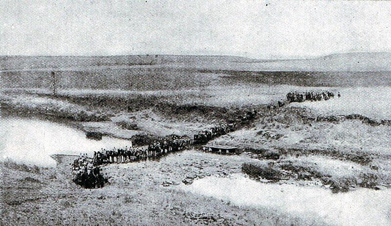 British Royal Field Artillery gun battery crossing a drift during the Boer War