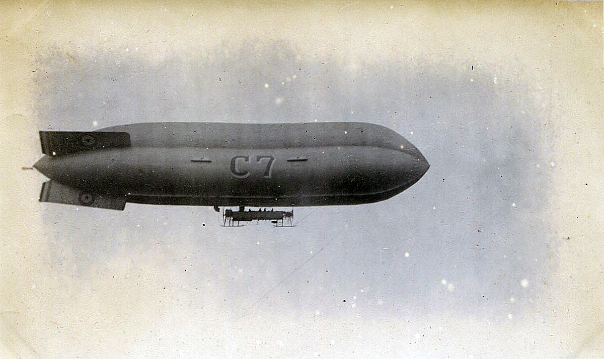 Royal Navy dirigible; taken from HMS Barham