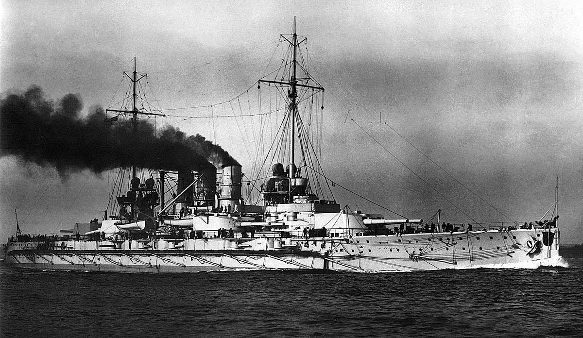 German Battleship SMS Ostfriesland. Ostfriesland fought at the Battle of Jutland on 31st May 1916 in Vice-Admiral Schmidt's 1st Battle Squadron