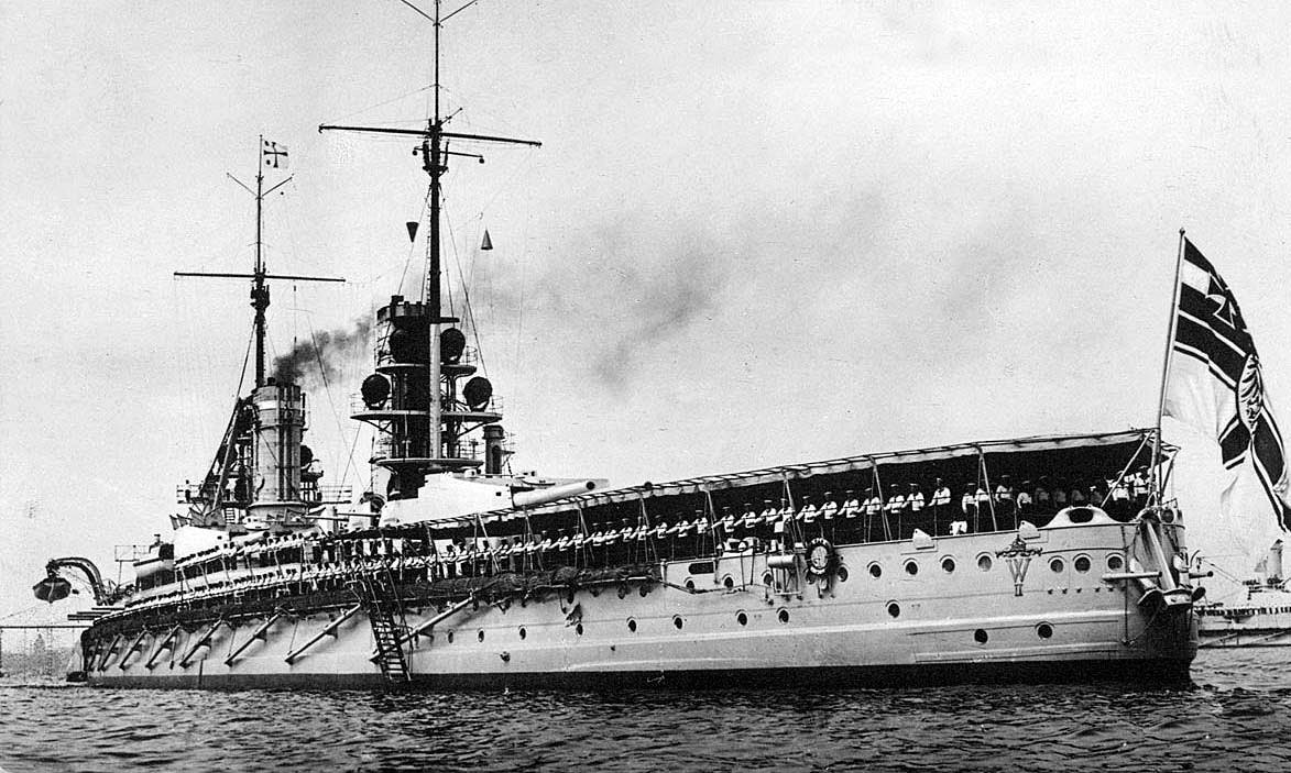 German Battleship SMS Kaiser. Kaiser fought at the Battle of Jutland on 31st May 1916 in Rear-Admiral Behncke's 3rd Battle Squadron
