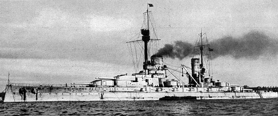 German Battleship SMS König. König fought at the Battle of Jutland on 31st May 1916 in Rear-Admiral Behncke's 3rd Battle Squadron