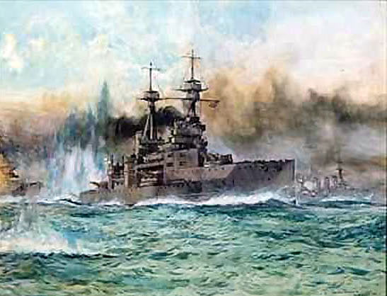 British Battleship HMS Vanguard. Vanguard fought at the Battle of Jutland 31st May 1916 in the 4th Battle Squadron commanded by Vice-Admiral Sir Doveton Sturdee