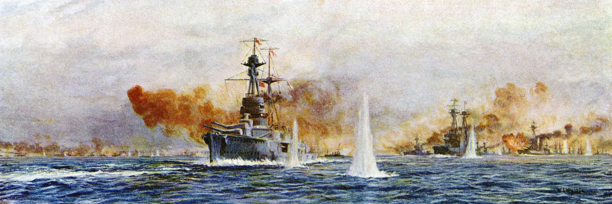 British Battleships at the Battle of Jutland 31st May 1916: HMS Royal Oak Benbow Superb and Canada: picture by Lionel Wyllie