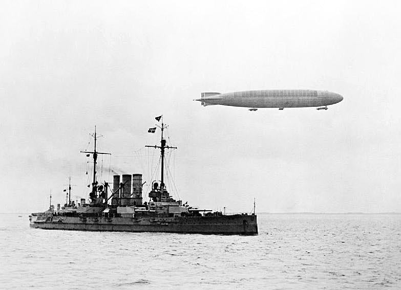 German airship flying over German Battleship SMS Ostfriesland 1916