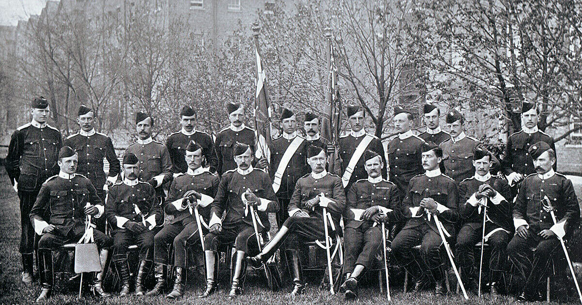 Officers of 2nd Devonshire Regiment in Britain before leaving for the South African War. The Battalion fought in Hildyard's Brigade at the Battle of Colenso on 15th December 1899