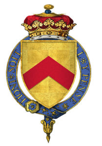Coat of Arms of the Duke of Buckingham, Lancastrian commander, killed at the Battle of Northampton on 10th July 1460 in the Wars of the Roses