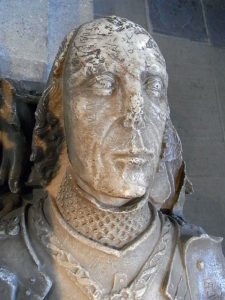 Alabaster effigy of Sir Dafydd ap Mathew in Llandaff Cathedral; the knight who saved the life of King Edward IV at Battle of Towton fought on 29th March 1461 in the Wars of the Roses